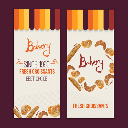 Vector watercolor hand drawn bakery set of banners with croissant, loaf, wheat, baguette, pretzel.   Vector
