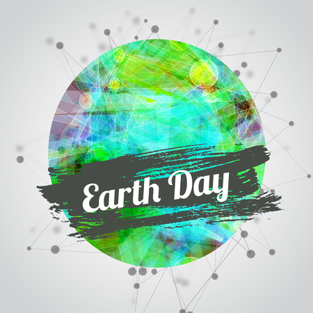 Vector modern illustration for earth day with bright Earth and watercolor banner with lettering, blured triangle background. Vector