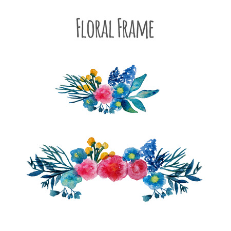 Watercolor vector wreath. Floral frame design. Hand drawn vintage illustration.   Vettoriali