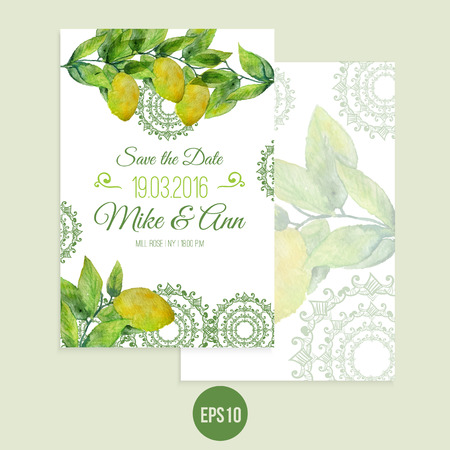 Vector watercolor lemon save the date card with leaves.  Artistic vector design for banners, greeting cards,sales, posters. Illustration