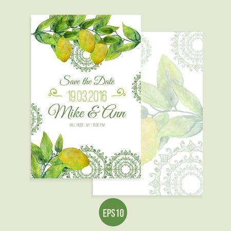 Vector aquarel citroen sparen de datum kaart met bladeren. Artistieke vector ontwerp voor banners, wenskaarten, verkoop, posters.