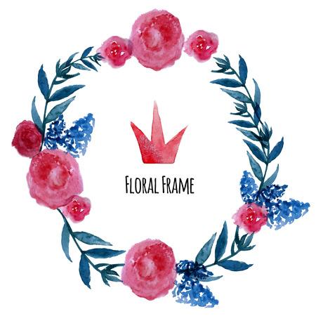 flor: Watercolor vector wreath. Floral frame design with crown. Hand drawn vintage illustration.