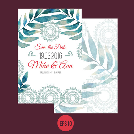 transparently: Vector watercolor template save the date with ornament, leaves. Artistic vector design for banners, greeting cards,sales, posters