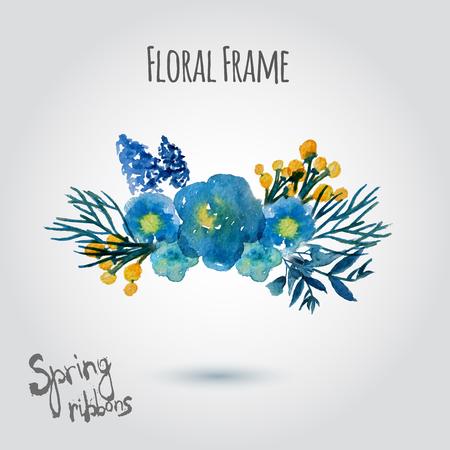 Aquarel vector krans. Bloemen frame ontwerp. Hand getrokken uitstekende illustratie met kleine blauwe bloemen. Stock Illustratie