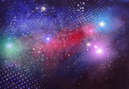Vector watercolor hand drawn galaxy background with bright center and shiny particles. Artistic vector design for banners, greeting cards,sales, posters. Vettoriali