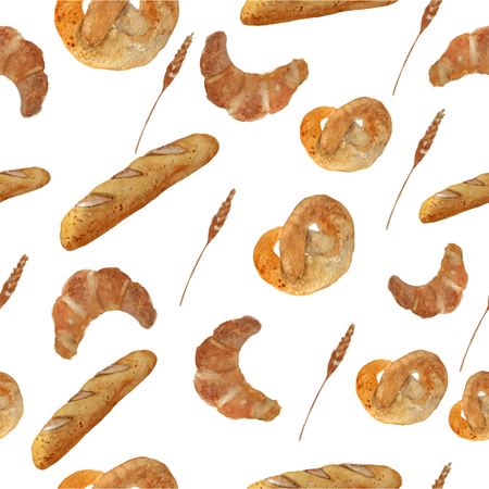 Vector watercolor hand drawn bakery seamless pattern with croissant, loaf, wheat, baguette, pretzel. EPS10. Vector