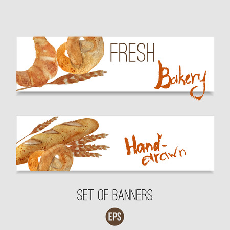 Vector watercolor hand drawn bakery set of banners with croissant, loaf, wheat, baguette, pretzel. EPS10.