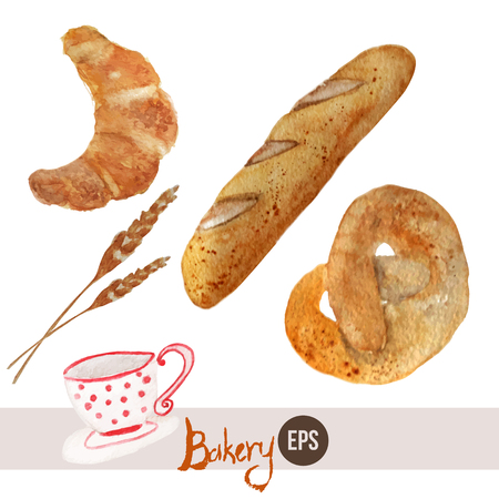 Vector watercolor hand drawn bakery set with croissant, loaf, wheat, baguette, pretzel and cup. EPS10.