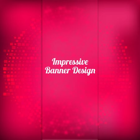 side effect: Vector pink banner design with halftone  effect and blured front side with squares. Artistic illustration can be used for sites, promo materials, identity pack. EPS10 Illustration