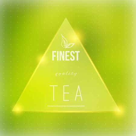 fine particles: Vector tea badge  fine quality on green blured background with shiny particles.