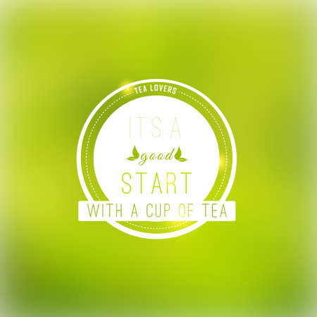 group therapy: Vector tea badge  fine quality on green blured background. Illustration