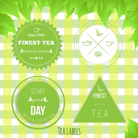 group therapy: Vector set of tea badges  fine quality on green squared texure with leaves Illustration