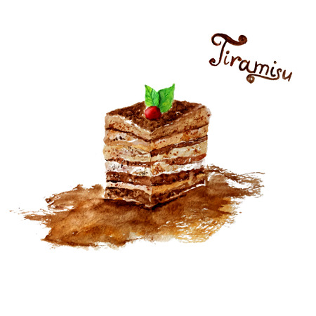Vector watercolor tiramisu cake with leaves on it.  Illustration