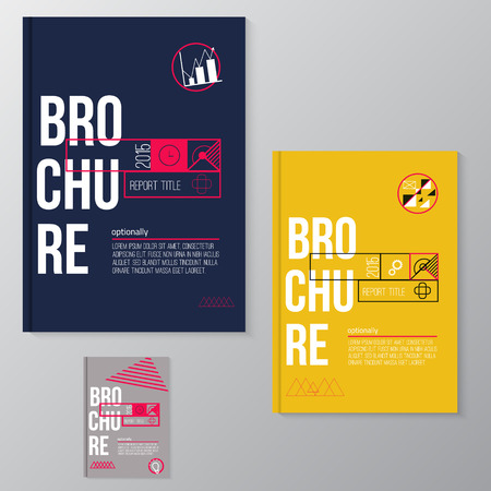 Vector modern brochure, minimal cover design template with colorful  abstract geometric shape for your business. EPS10. Vettoriali