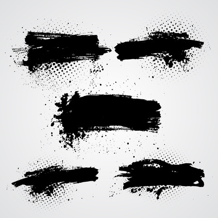 Set of vector black grunge splash banners. Can be used for card, web design background, book cover.