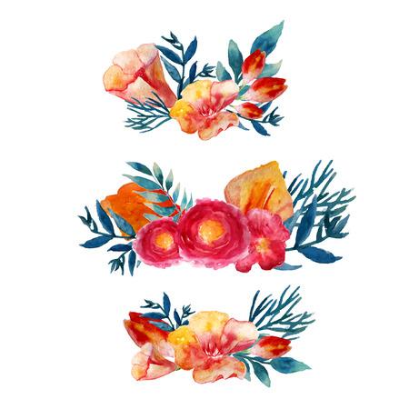 Vector aquarel bloemen krans set met vintage bladeren en bloemen. Artistieke vector ontwerp voor banners, wenskaarten, verkoop, posters. Stockfoto - 40367804