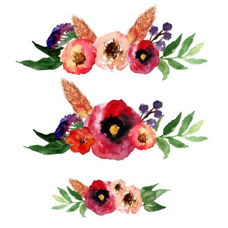 Vector aquarel bloemen krans set met vintage bladeren en bloemen. Artistieke vector ontwerp voor banners, wenskaarten, verkoop, posters.