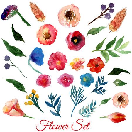 Vector aquarel bloemen met groene bladeren. Moderne elementen voor uw ontwerp. Kan gebruikt worden in posters, uitnodigingen, banners.EPS10 Stock Illustratie
