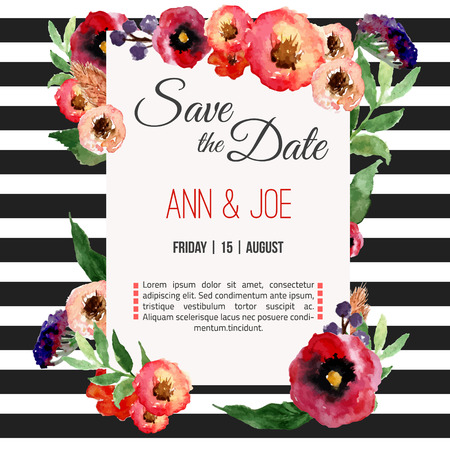 Vector watercolor template save the date with floral frame, leaves. Artistic vector design for banners, greeting cards,sales, posters