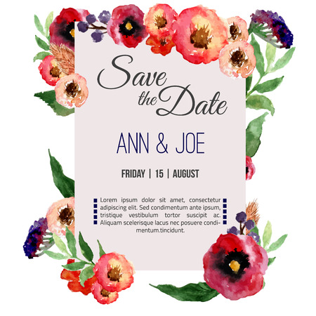 date: Vector watercolor template save the date with floral frame, leaves. Artistic vector design for banners, greeting cards,sales, posters