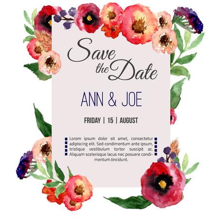 pfingstrosen: Vektor-Aquarell Vorlage speichern Sie das Datum mit Blumenfeld verlässt. Künstlerische Vektor-Design für Banner, Grußkarten, Vertriebs, Poster