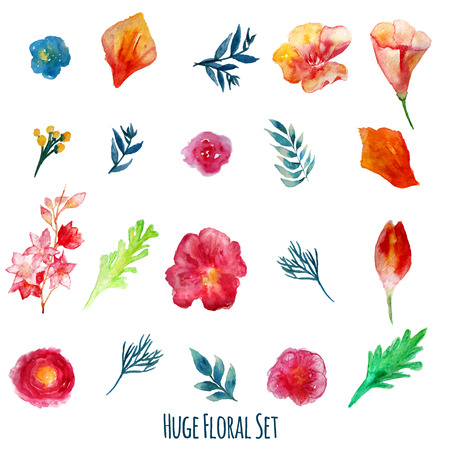 Vector  watercolor flowers with green leaves. Modern elements for your design. Can be used in posters, invitations, banners.