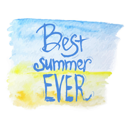 painterly effect: Vector watercolor  best summer lettering on blue and yellow background.