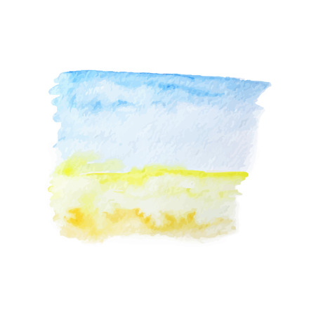 painterly effect: Vector watercolor summer background with blue sky and yellow sand. EPS10.