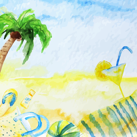 coctail: Vector watercolor summer poster  on beach background with palm tree, coctail, cover and ball. EPS10 Illustration