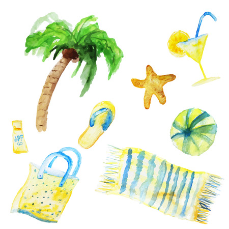 yellow adventure: Vector watercolor summer set isolated on white background. EPS10