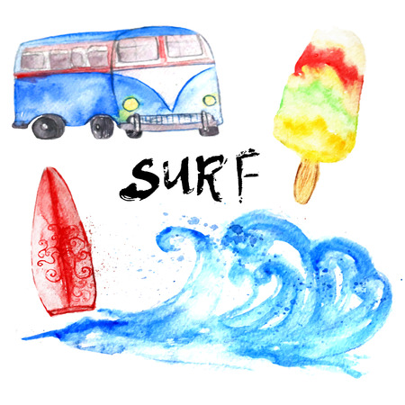 Vector watercolor summer surf set with bus and wave on white background.