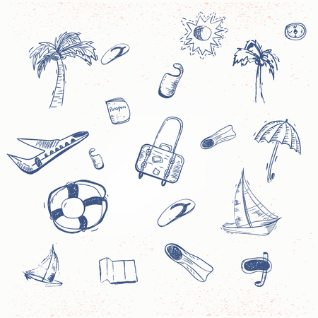 hot tour: Vector summer travel doodle with boat, plain, umbrella. EPS10.