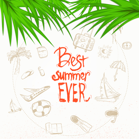 hot tour: Vector summer doodle with lettering and palm leaves. EPS10.