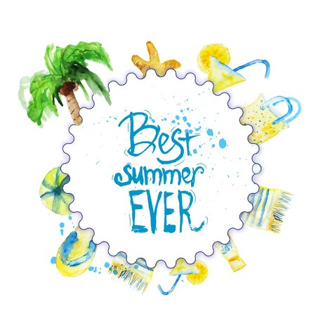 coctail: watercolor summer poster with lettering on beach background with palm tree, coctail, cover, sandal, ball.