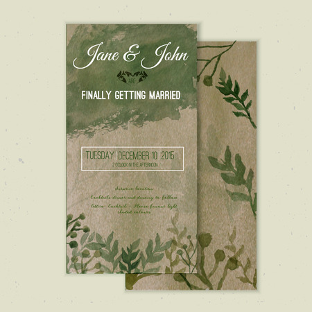 Vector aquarel sparen de datumkaart in rustieke stijl met groene bladeren op ambachtelijke papier. Stock Illustratie