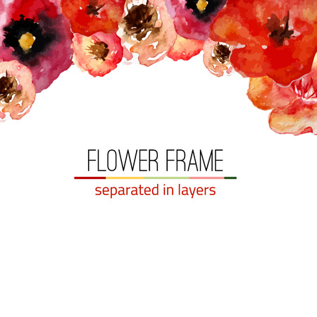 Vector watercolor floral frame with vintage leaves and flowers. Artistic vector design for banners, greeting cards,sales, posters. EPS10 Vectores