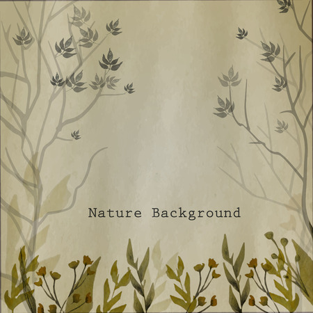 grass flowers: Vector watercolor natural background with leaves, grass, flowers and trees on craft paper background.EPS10 Illustration