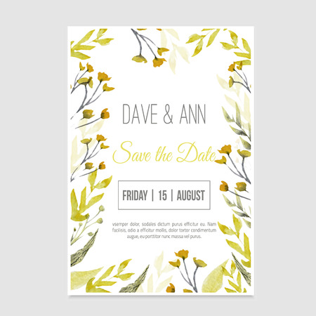 Vector watercolor save the date card in rustic style with green leaves on craft paper Vettoriali