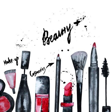 Vector aquarel glamoureuze make-up set van cosmetica met nagellak en lipstick.Creative ontwerp voor kaart, web ontwerp achtergrond, cover van het boek. Stockfoto - 42420593