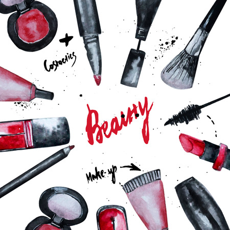 beauty product: Vector watercolor Glamorous make up set of  cosmetics with nail polish and lipstick.Creative design for card, web design background, book cover.