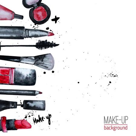 Aquarela de vetor glamourosa compõem o conjunto de cosméticos com esmaltes e batom. Design criativo para cartão, fundo de design web, capa de livro.