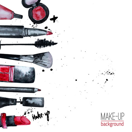 makeup a brush: Vector watercolor Glamorous make up set of  cosmetics with nail polish and lipstick.Creative design for card, web design background, book cover.