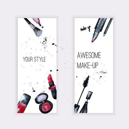 cosmetic cream: Vector watercolor Glamorous make up set of  banners with nail polish and lipstick.Creative design for card, web design background, book cover.EPS10.