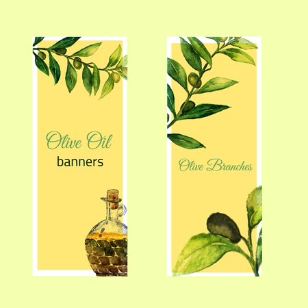 olive wreath: Vector watercolor hand drawn set of banners with olive branches and glass bottle.EPS10