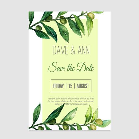 dattes: Vecteur aquarelle sauver la carte de date dans le style de la nature avec une branche d'olivier. EPS10