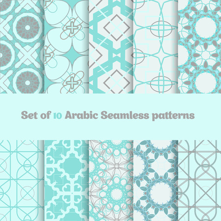 Vector Set of geometric arabic  patterns in light colors. EPS10