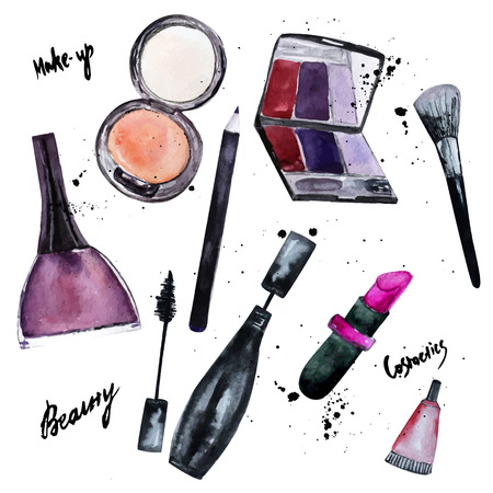 makeup fashion: Vector watercolor set of Glamorous make up set of  cosmetics with nail polish and lipstick.Creative design for card, web design background, book cover.EPS10.