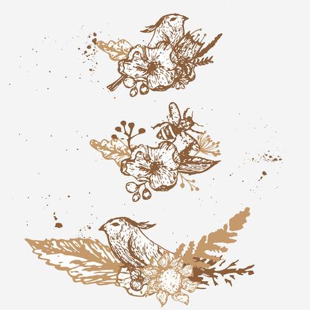 Vector Vintage Niedliche Hand Gezeichnete Blumenkranz Auf Weissem