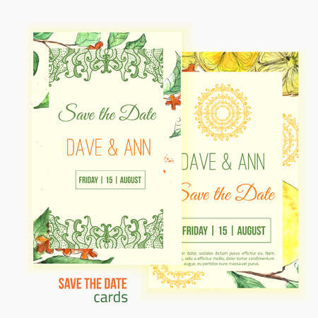 oriental vector: Vector watercolor lemon save the date card with leaves and oriental shapes.  Artistic vector design for banners, greeting cards,sales, posters Illustration
