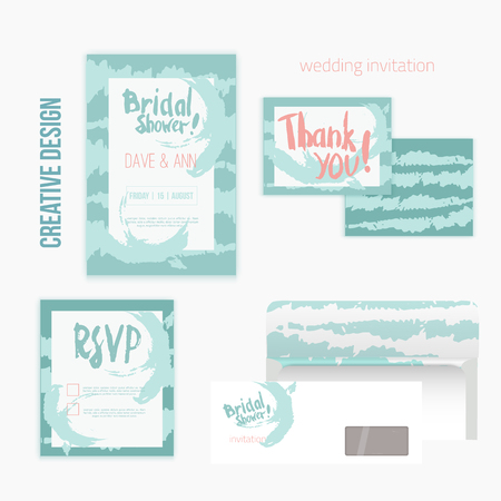 rsvp: Set of wedding invitation cards withthank you card, RSVP card, envelope in mint vintage style
